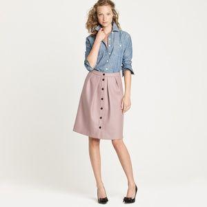 j crew flair wool button skirt mauve pink
